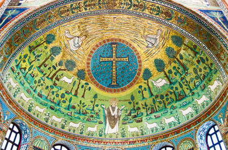 Ravenna, Italy - March 1, 2012: The mosaics of S.Apollinare in Classe basilica