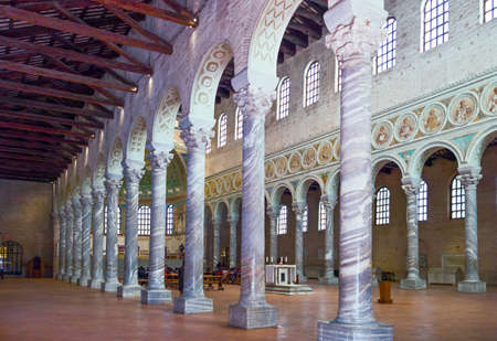 Ravenna, Italy - March 1, 2012: The aisle of S.Apollinare in Classe basilica Editorial
