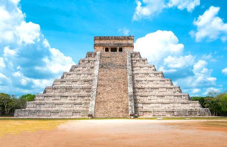 Chichen Itza , Mexico - April 18, 2016: Archaeological site, view of the imposing Castle ( El Castillio)
