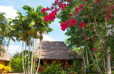 Chichen Itza , Mexico, tourists facilities near the Ik Kil sinkhole Stock Photo