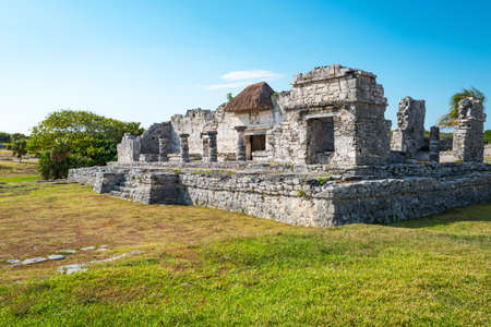 Tulum, Mexico, houses in the Mayan city archaeological site