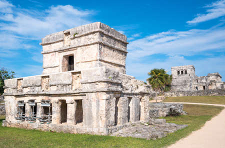 Tulum, Mexico, the Temple of Frescoes in the Mayan city archaeological site