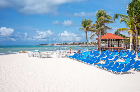 Playa Del Carmen, Mexico - April 16, 2016: Tourist facilities on the beach