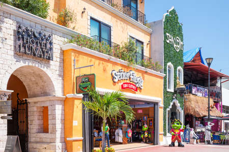 Playa Del Carmen, Mexico - April 16, 2016: Shops and tourist facilities in the country center