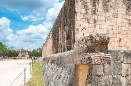 Chichen Itza , Mexico - April 18, 2016:  Archaeological site, the ancient Ball Game wall (Juego de Pelota)