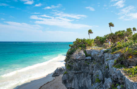 Tulum, Mexico - April 20, 2016:  Sea view from the Mayan city archaeological site,