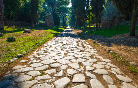 Italy,Rome,  the original pavement of Roman time of Via Appia Antica Stok Fotoğraf - 83317586