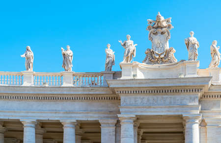 Italy,Rome, St. Peter square, statues of saints on the Berninis colonnade.