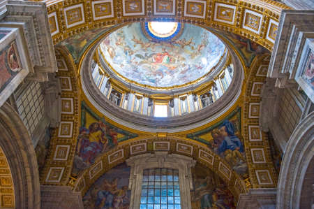 Rome, Italy - September 29, 2008:   The interior of San Pietro in Vaticano cathedral