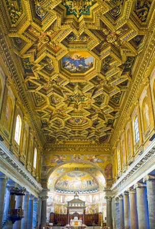 Rome, Italy - September 29, 2008:  The interior of S.Maria in Trastevere