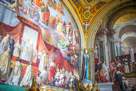 Rome, Italy - March 11, 2014:  Vatican Museums, the frescoes of the Immacolata hall