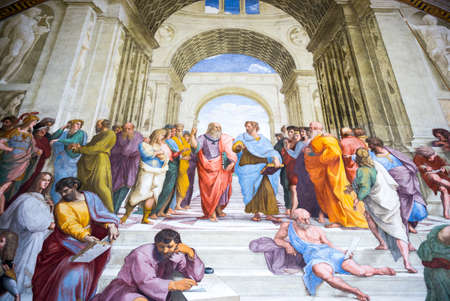 Rome, Italy - March 11, 2014: Vatican Museums, room of the Signature , the Raffaellos School of Athens painting
