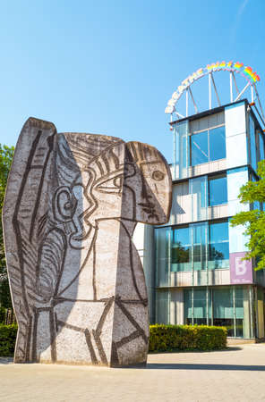 Rotterdam, The Nederlands - July 18, 2016:  Sylvette, a sculpture by Pablo Picasso in front of the Boijmans Museum Editorial