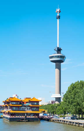 Rotterdam, The Nederlands - July 18, 2016: The Euromast Observation Tower seen from a boat crossing the Maas river Editorial