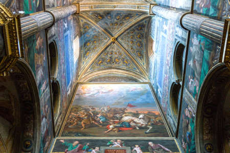 Cremona, Italy - May 14, 2013:  The interior of the cathedral with frescoes by various artists of the sixteenth century