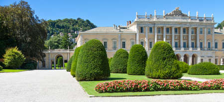Como, Italy - August 30, 2010:  View of Villa Olmo in the lakefront Editorial