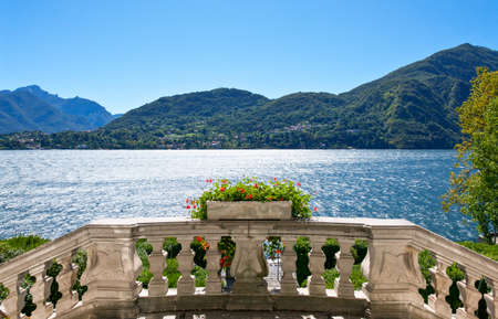 コモ湖のイタリア、トレメッツォ、ビュー 写真素材