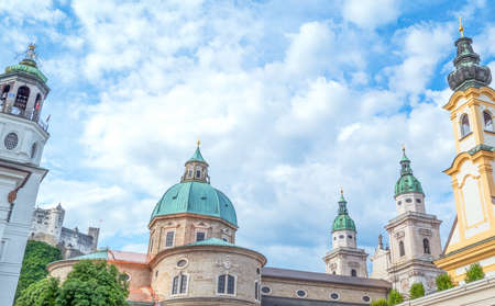 Austria, Salzburg, panoramic view of the domes and bell towers in the old town, seen from Mozart square