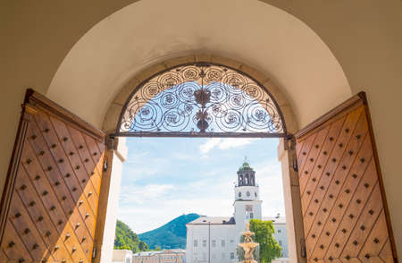 Austria, Salzburg, view of Residence square from the  entrance door of a noble palace