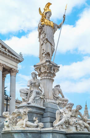 Austria, Vienna, the Pallas Athena statue in front of the Parliament building