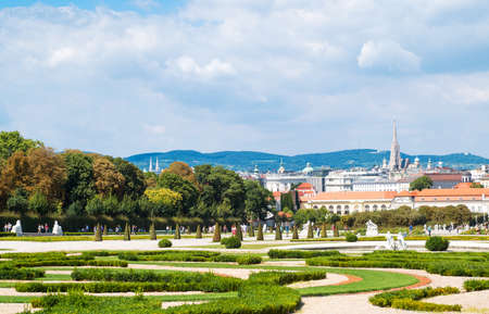 Vienna, Austria - August 7, 2016:  The garden of the Belvadere Palace with the lower palace in the background Editorial