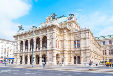 Vienna, Austria - August 5, 2016: The main facade and entrance of the State Opera theater