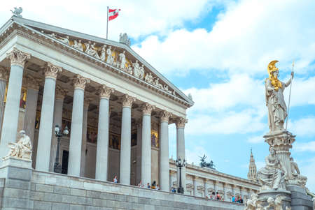 Vienna, Austria - August 6, 2016:  The Pallas Athena statue in front of the Parliament building Editorial