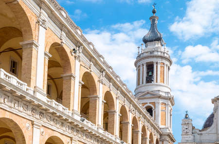 Loreto, Italy - March 19,2015: The Sanctuary of the Holy House, view of the Basilica bell tower and the Apostolic Palace Stock fotó - 91067211