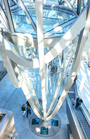 Lyon, France - December 10, 2016: Confluence district, the ultra moder architextures of the Confluence museum inside Editorial