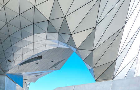 Lyon, France - December 10, 2016: Confluence district, detail of the ultra moder architextures of the Confluence museum