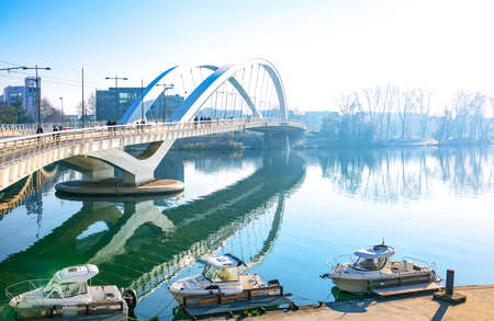 Lyon, France - December 10, 2016: Confluence district, the Raymond Barre bridge leading to the Confluence museum Editorial