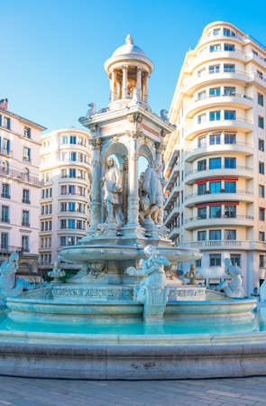 France, Lyon, the Etoile fountain in De Jacobins square