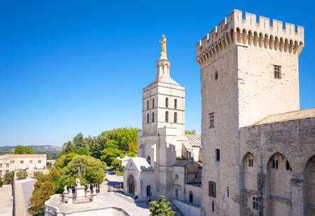 Avignon, France - August 25, 2016:  View of the Palace of the Popes with the Notra Dame Des Doms cathedral in the background