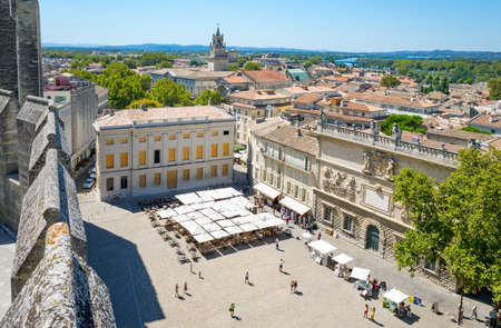 Avignon, France - August 25, 2016:  View of the city from the top of the Palace of the Popes