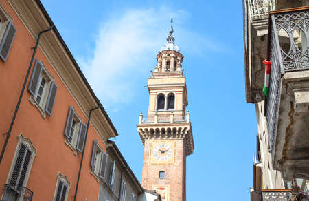 Italy, Piedmont, Casale Monferrato,  upward view of the Civic Tower