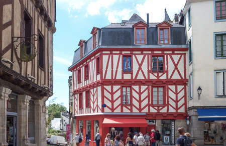 Vannes, France - August 7, 2017: View of the ancient Half-Timbered houses around the St Peter Cathedral Éditoriale