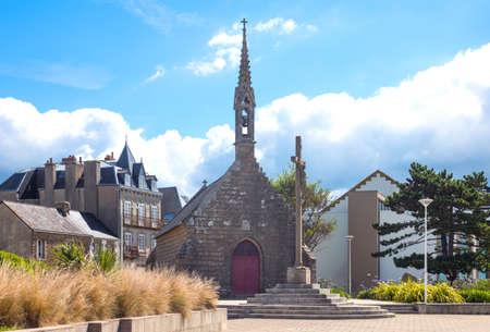 Concarneau, France, view of De La Croix chapel in the De La Croix seafront