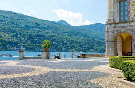 Isola Bella, Italy - July 15, 2005: The Borromeo Palace courtyard on the Maggiore jake Editorial