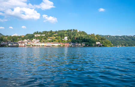 Italy, Piedmont, Lake Orta, Orta San Giulio, view of the country from the lake