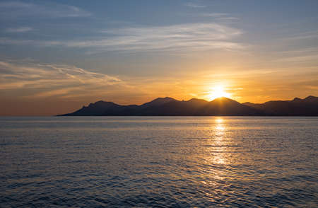 France, Cannes, sea view with sunset on the Esterel promontory