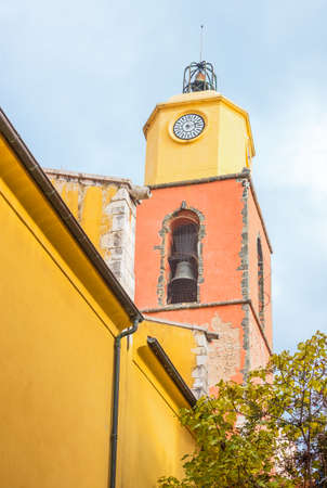 Saint Tropez, France, the bell tower of the Church in the center of the village Stock Photo