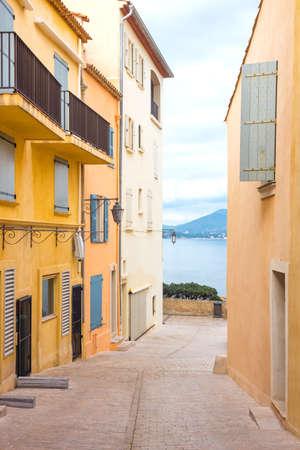 Saint Tropez, France, the colorful houses in La Porte du Revelen quarter