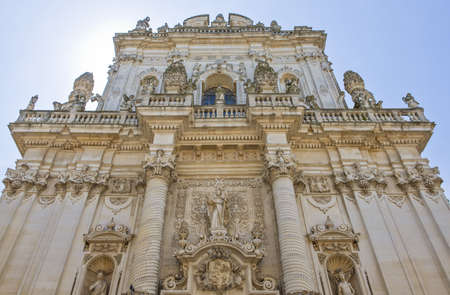 Lecce, Italy, the Baroque sculptures of the Del Rosario church facade