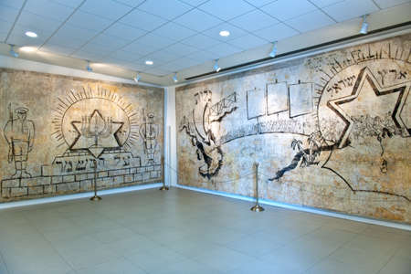 Santa Maria Al Bagno, Italy - April 16, 2010:  Manual drawings on the wall in the museum of holocaust memory