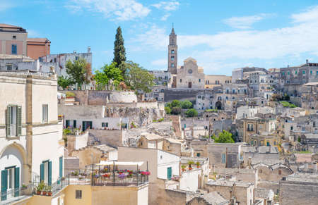 Matera, Italy, the old town of Sassi, former prehistoric troglodyte settlements, seen from the Mater Domini church lookout