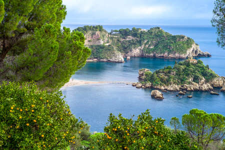 Italy, Sicily, view of the Isola Bella from Taormina 写真素材