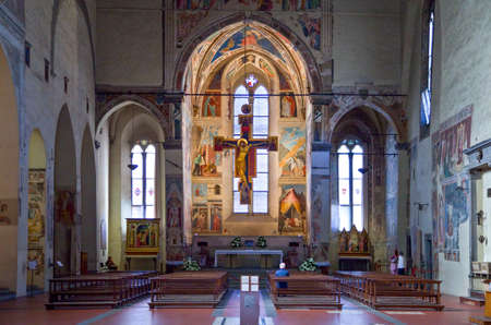 Arezzo, Italy - September 5, 2009: The inside of St. Francesco church with Piero Della Francesca's frescoes