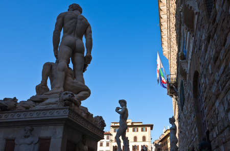 Italy,Tuscany,Florence, Della Signoria square, the marble statues group  in front of Palazzo Vecchio