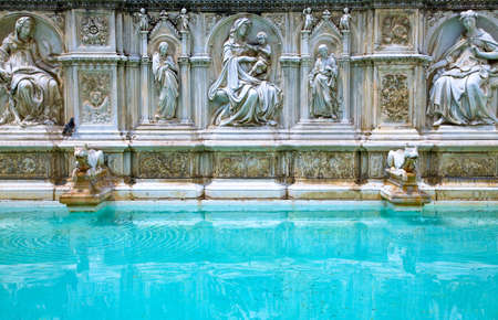 Italy,Tuscany,Siena,Del Campo square, the  Gaia fountain by Jacopo Della Quercia
