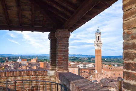 Italy,Tuscany,Siena,view of the Del Mangia tower from the Cathedrals Facciatone belvedere